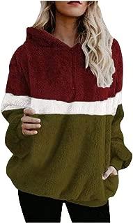 Women Hoodies Tops Fashion Winter Splice Hooded Long Sleece Collar Plush Sweatshirt Blouse