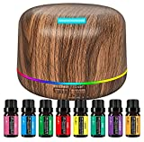 Diffuser Ultrasound Aromatherapy Essential Oil Humidifier Contains 8 Bottles of Essential Oils Large Room, Home, Waterless Auto-Off, 14 Color LED Lights Wood Grain Cool Mist (300ml)