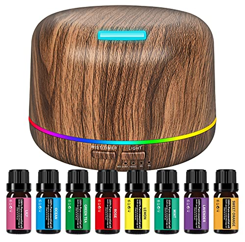 Diffuser Ultrasound Aromatherapy Essential Oil Humidifier Contains 8...
