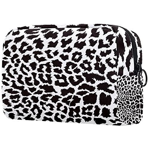 Bolsa de Maquillaje Piel de Leopardo Neceser de Cosméticos y Organizador de Baño Neceser de Viaje Bolsa de Lavar para Hombre y Mujer 18.5x7.5x13cm
