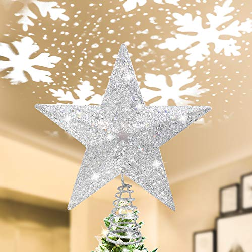 IIDEE Lighted Christmas Tree Topper, Glittery Silver Star Iron Tree Topper with Rotating Magic Snowflake or RGB LED Projector for Xmas Holiday Party Gift Décor