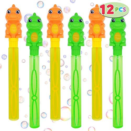 JOYIN Paquete de 12 Varitas de Burbujas Dinosaurio de 35.5 cm para niños, Actividades al Aire Libre, Cumpleaños, Pascua