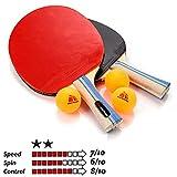 Meteor Racchetta Tennis Tavolo Ping-Pong Set 2 Racchetta da Ping Pong e 3 Palline Table Tennis Tennistavolo - Ideale per Bambini Ragazzi e Adulti per Allenamento e Giochi ricreativi (2 Stelle)