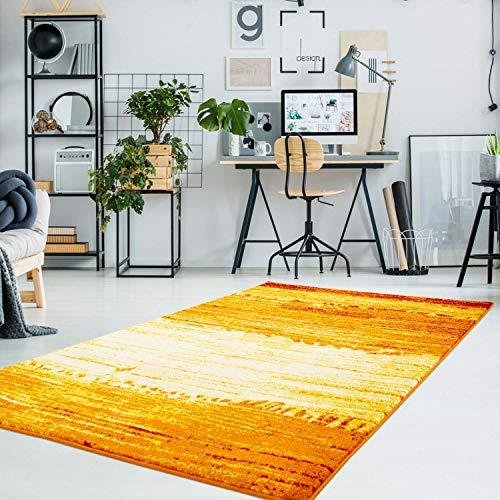 carpet city Teppich Flachflor Moda mit Modernen Design, Meliert, Gestreift, Abstrakt in Orange, Gelb, Rot, Weiß Größe 120/160 cm
