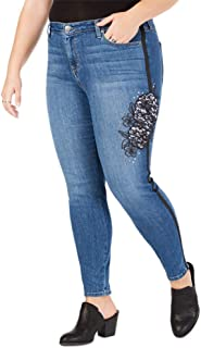 Womens Plus Denim Embroidered Skinny Jeans