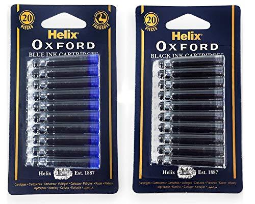 Helix Oxford - Cartuchos de tinta para cartuchos de tinta negra y azul - 2 x blíster - 40 recambios
