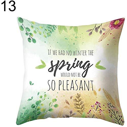 WEURIGEF 45 cm x 45 cm Hoja de Hierba Verde Impreso Throw Pillow Case Sofá Cama Funda de cojín Decoración Cuadrada para el Coche en casa