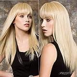 613 Blonde Straight Human Hair Wigs 9A Brazilian Blonde Machine Made Straight Remy Human Hair Wigs with Bangs for Black Women 150% Density (26Inch, 613 Blonde)