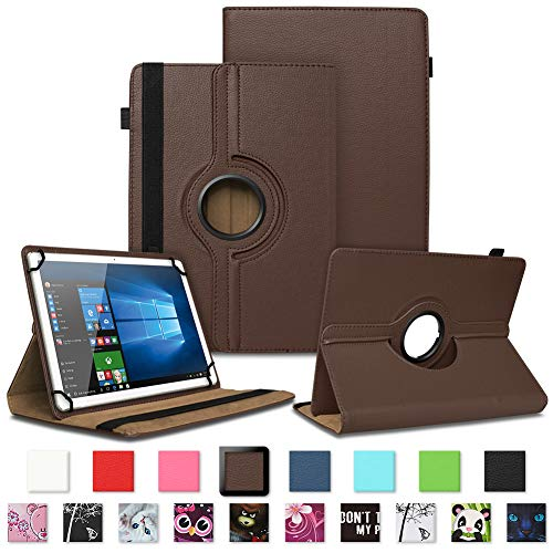 NAUC Asus ZenPad 3 8.0 Tablet Schutzhülle Tasche Tablettasche Hülle mit Standfunktion 360° drehbar hochwertige Kunst-Leder Verarbeitung Cover viele Motive Universal Tablethülle Hülle, Farben:Braun