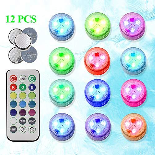 Unterwasser Licht mit Fernbedienung,Wasserdichte Unterwasser Licht,6-LED RGB 7 Farbwechsel,LED Leuchten f/ür Vase Base,Aquarium,Teich,Party,Schwimmbad,1 St/ück whirlpool zubeh/ör