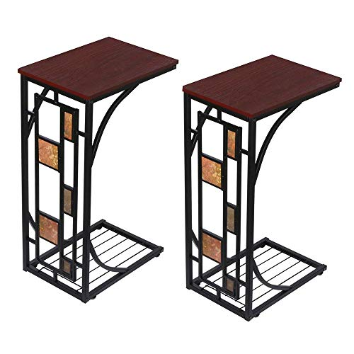 YAHEETECH C Shaped Sofa Side Table, Mobile End Table for...