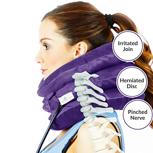 Cervical Spine Neck Traction Device, Inflatable Neck Brace, Neck Collar Support for Pain Relief, What The Doctor Recommends by Lovely Home (Purple)