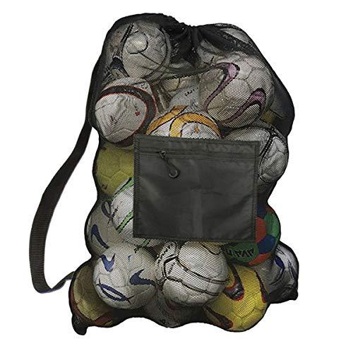 Achort Sacca in Rete per palloni da Calcio per 10-15 Palline Grande Palline Heavy Duty Net Ball Tracolla Tappeto Palla da Calcio Basket pallavolo Borsa Tote Storage Sacco con Coulisse, Nero