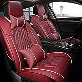 Unbekannt Autositzbezug Komfortabler Autositzbezug 5-Sitzer Vorder- und Rückseite voller Leinen Vier Jahreszeiten,B