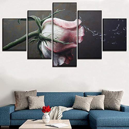 Rkmaster-Modular Poster Lienzo Cuadro Decoración Marco HD Impresión 5 Piezas Arte Water Splash Rose Pintura Mural Decoración para el hogar | Pintura