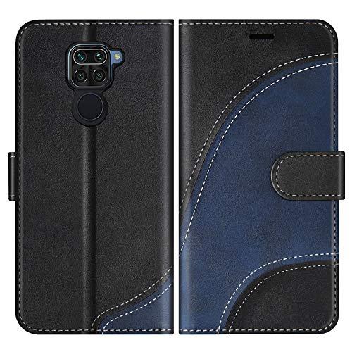 BoxTii Hülle für Xiaomi Redmi Note 9 / Redmi 10X 4G, Leder Handyhülle für Xiaomi Redmi Note 9 / Redmi 10X 4G, Ledertasche Klapphülle Schutzhülle mit Kartenfächer & Magnetverschluss, Schwarz