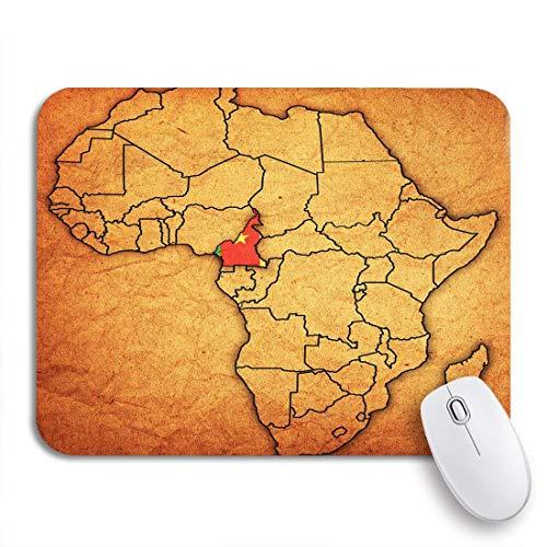 AIMILUX Gaming und Office Mauspad,Afrikanisches Kamerun auf aktueller Vintage politischer Karte von Afrika,rutschfester Unterseite