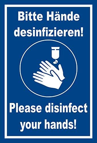 Melis Folienwerkstatt sticker bord handen desinfecteren 2-talig 30x20cm – Aluverbundplatte – mit Bohrlöchern