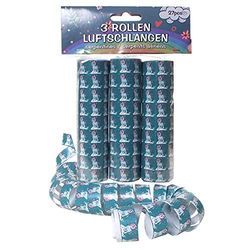 Schnooridoo Accesorios para fiesta de cumpleaños infantil, 19 variedades, confeti, serpentinas, globos, servilletas (serpentinas de unicornio, 3 piezas)