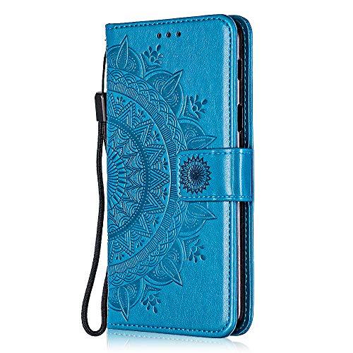 Bear Village Huawei Y6 2019 / Huawei Honor 8A Hülle, PU Leder Flip Hülle, Stoßfest Brieftasche Handyhülle mit Multifunktion Ständer & Kartenfach für Huawei Y6 2019 / Huawei Honor 8A, Blau