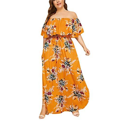 YGbuy-Vestido Sin Tirantes De Gran TamañO con Estampado De Damas Vestido Largo para Mujer Vestido De Playa para Mujer Sexy Vestido De Playa con Boho con Falda De Playa