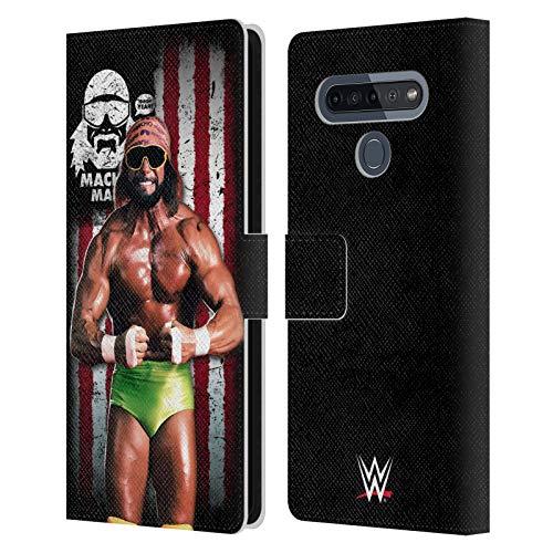 Head Case Designs Licenciado Oficialmente WWE Hombre Macho Randy Savage Bandera Americana Superstars Carcasa de Cuero Tipo Libro Compatible con LG K51S