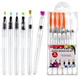 Water Brush Pen Set-YUNYINFENG 6 Sets of Water Brush Pens, Watercolor Brushes,Water Brushes Refillable, Used for Painting, Powder Paint, Water-Soluble Colored Pencils.