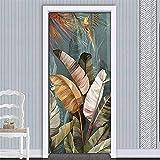 WLG Protección de Pared Papel Tapiz Decorativo Pvc Impermeable Autoadhesivo Pegatinas de Puerta Decoración de Pared Hoja de Plátano 3D Foto Mural Papel Tapiz Sala de Estar Dormitorio Decoración Tatua