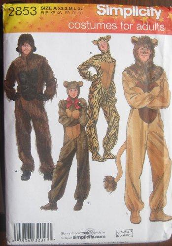Simplicity Schnittmuster 2853Erwachsene Kostüme, Gr. XS, S, M, L