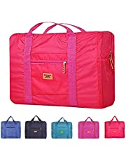 Unova Travel Duffel Bag Packable Light Nylon Water Resistant Gym Tote Weekend Overnight Carry-on Bag (Rose Red)