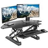 VIVO Black Corner Deluxe Height Adjustable 40 inch Standing Desk Converter, Sit Stand Tabletop Monitor and Laptop Riser Workstation (DESK-V000DC)