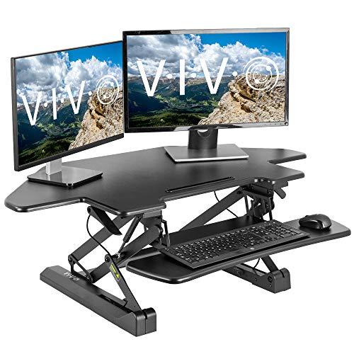 VIVO Black Corner Deluxe Height Adjustable 43 inch Standing Desk Converter, Sit Stand Tabletop Monitor and Laptop Riser Workstation, DESK-V000DC