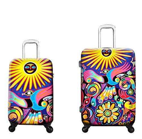 Kofferset, Gepäckset, Reisegepäck by Heys - Premium Designer Hartschalen Kofferset 2 TLG. - Künstler Limon Under The Sun Handgepäck + Koffer mit 4 Rollen...