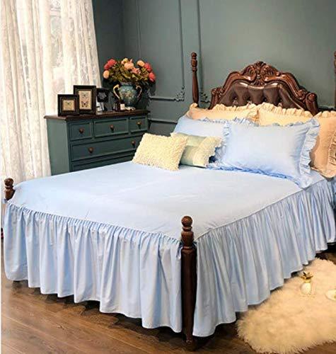 RKZM Lange nietjes Katoen Satijn Bed Rok Single Piece Rok Type Effen Kleur Bed Cover Licht Wind Anti-slip Vellen 220X200Cm