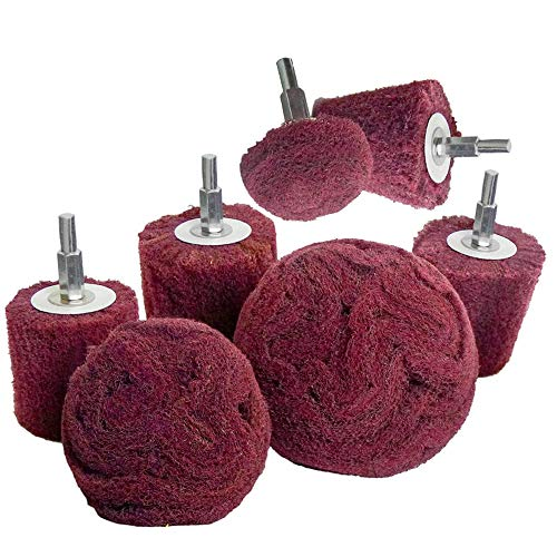 Polishing (Brushing) Shaped scouring pad Grinding Head - 7Pcs Red Non Woven Abrasive Drill Buffing Attachment Set with 1/4 Handle for Manifold/Aluminum/Stainless Steel/Chrome etc.