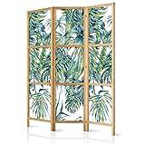 murando - Biombo Tropical Hojas Verde 135x171 cm 3 Paneles Lienzo de Tejido no Tejido Tela sintética Separador Madera Design de Moda Hecho a Mano Home Office Japón b-A-0369-z-b