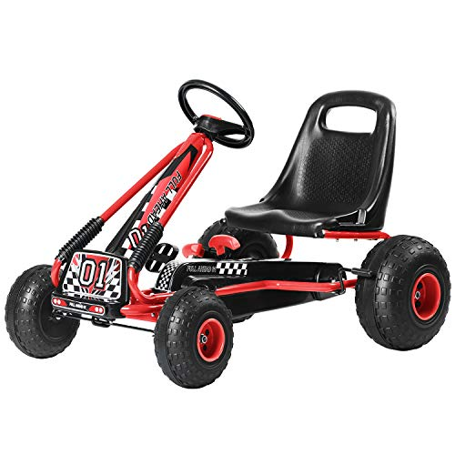 Pedal Go Kart Pedal Car for Kids 4 Wheel Pedal Powered with Adjustable Seat Outdoor Racer for Boys & Girls (Red)