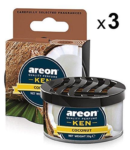 Areon Ken Ambientador Coche Coco Casa Olor Tropical Dulce Fruit Hogar Aire Lata Debajo Asiento Perfume Original Marrón 3D ( Coconut Pack de 3 )