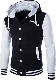 Men's Hooded Jacket Thicken Hoodie Warm Fleece-Lined Sweat Jacket Modern Patchwork Baseball Outwear Buttons Drawstring Poc...