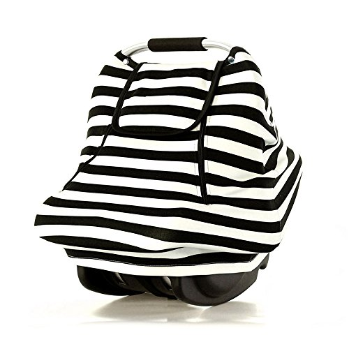 Stretchy Baby Car Seat Covers for Boys Girls Infant Car Canopy Spring Autumn Winter,Snug Warm Breathable Windproof, Adjustable Peep Window,Universal Fit,Black White Stripe-Patented Design Mississippi