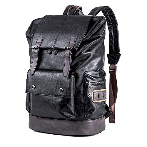 WEECOC Zaino in pelle casual da uomo, borsa a tracolla unisex, borsa a tracolla per la scuola, stile classico marrone M