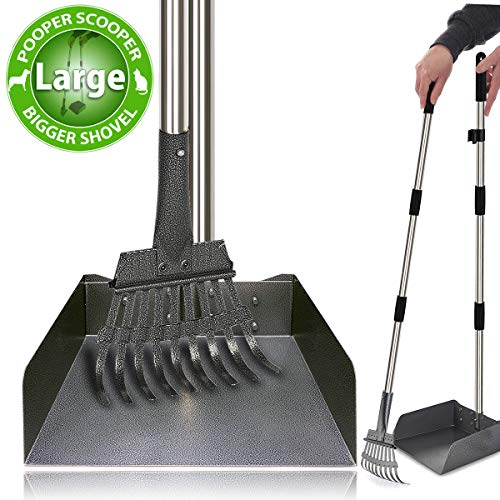 """Heavy Duty Metal Pooper Scooper - Dog Pooper Scooper with Large Shovel Easy Pick Up Dog Poop Rake Scoop Set with 37.4"""" Handle No Bending Partable Yard Poop Scooper Perfect for Small to X-Large Dogs"""
