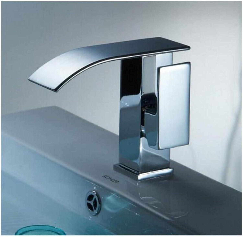 Chrome-Plated Adjustable Temperature-Sensitive Led Faucet Single Handle Single Hole Basin Faucet Deck Mounted