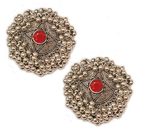 Pahal Ethnic Oxidized Red Kundan Cluster Pearl Big Silver Jhumka Earrings South Indian Bollywood Wedding Jewelry for Women