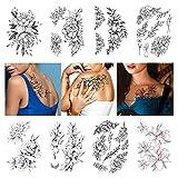 Leoars Large Flower Temporary Tattoos, Sketch Flower Blossom Peony Rose Fake Tattoo Stickers, Waterproof Black Flower Tattoos Body Art for Women Girl, 8-Sheet