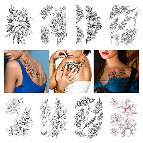 Leoars Large Flower Temporary Tattoos, Sketch Flower Blossom Peony Rose Fake Tattoo Stickers, Waterproof Black Flower Tattoos Body Art for Women Girl, 8-Sheet