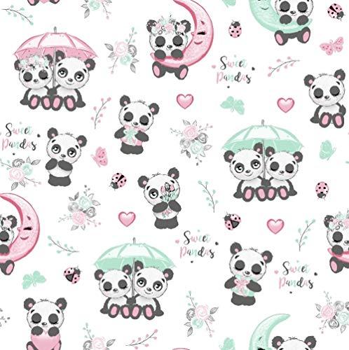 11,99€/m Panda 100% Baumwolle Baumwollstoff Kinder Meterware Handwerken Nähen Stoff (Panda Regenschirm Weiß, 100x160cm (11,99€/m))