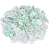 Akstore 100 PCS Adhesive Cable Clips Self-Adhesive Wire Clips Cable Wire Management Wire Cable Holder Clamps Cable Tie Holder for Car, Office and Home (White)