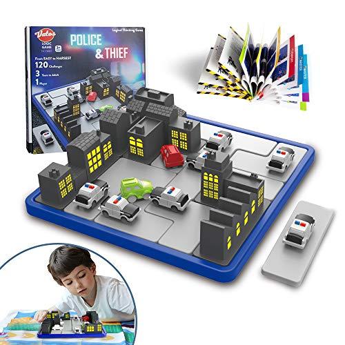VATOS Logikspiele Kinder Erwachsene STEM Spielzeug Polizei & Dieb Rätsel Brettspiel Pädagogische Gehirnentwicklung Intelligente Spiele 120 Herausforderungen Denkspiel für Jungen Mädchen ab 3 Jahren