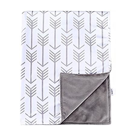Measures 27 x 36 Arrows in White on Navy Double-Sided Minky Blanket